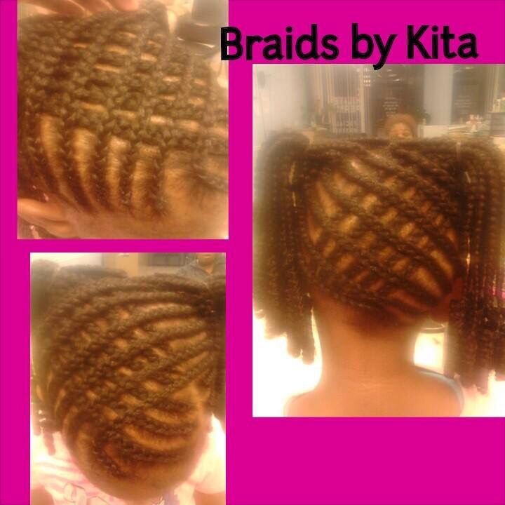 Cornrows W/ extensions Kids styles by Kita Check out more on IG: StylistKitA