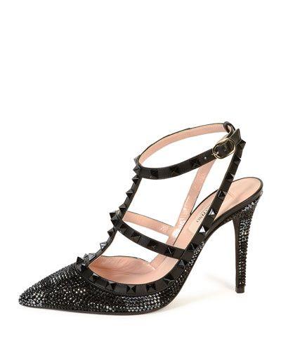 S0B86 Valentino Camounoir Rockstud Crystal Sandal