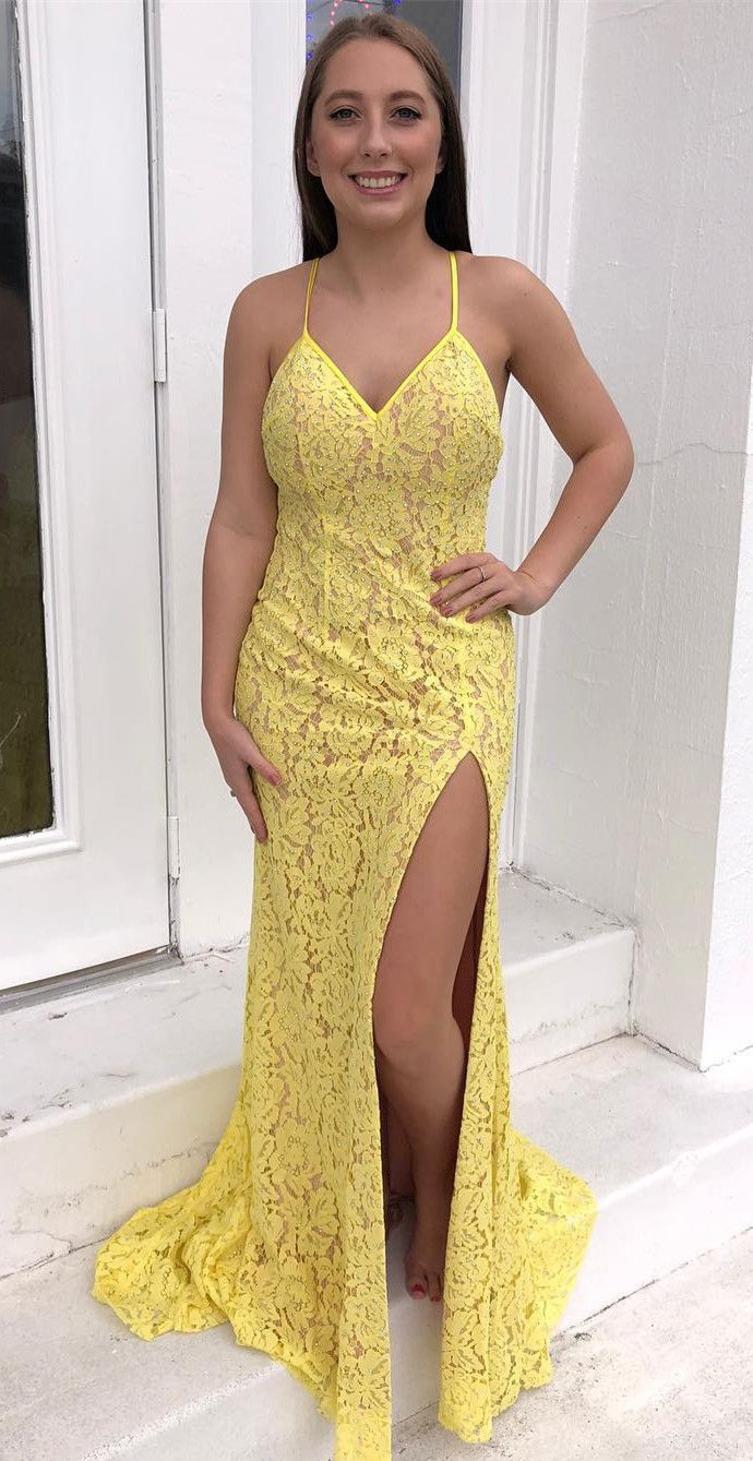 162e1039728 gorgeous mermaid yellow lace long evening dress with side slit