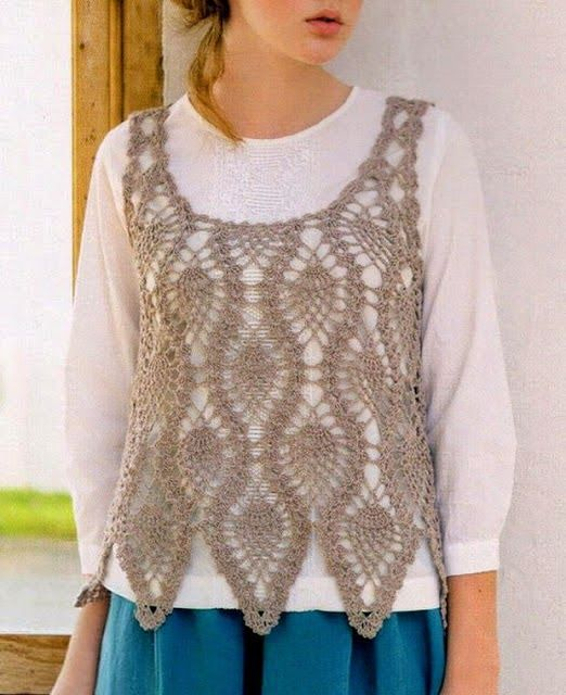 Crochet Sweater Crochet Vest Pattern For Women Pineapple Lace