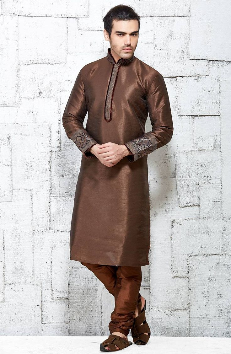 Brown latest Indian fashion silk kurta pajama for feativals