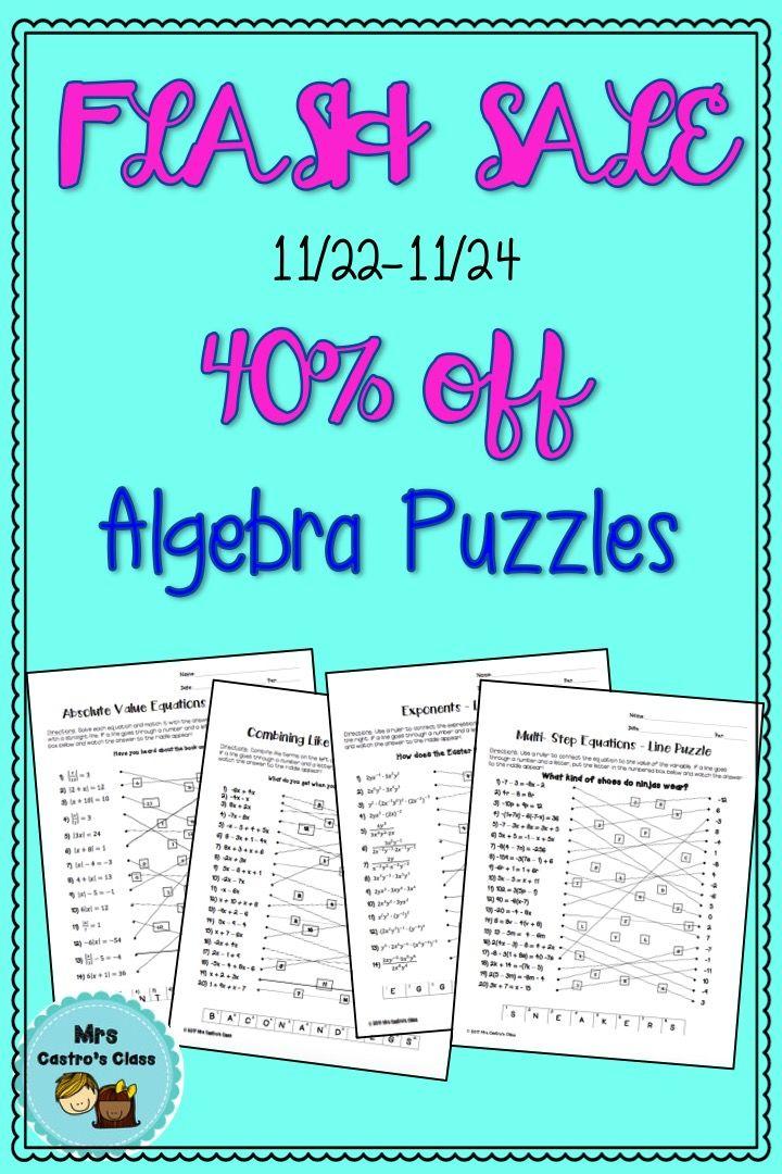 Algebra Line Puzzle Activities - Bundle **FLASH | Algebra, Algebra ...