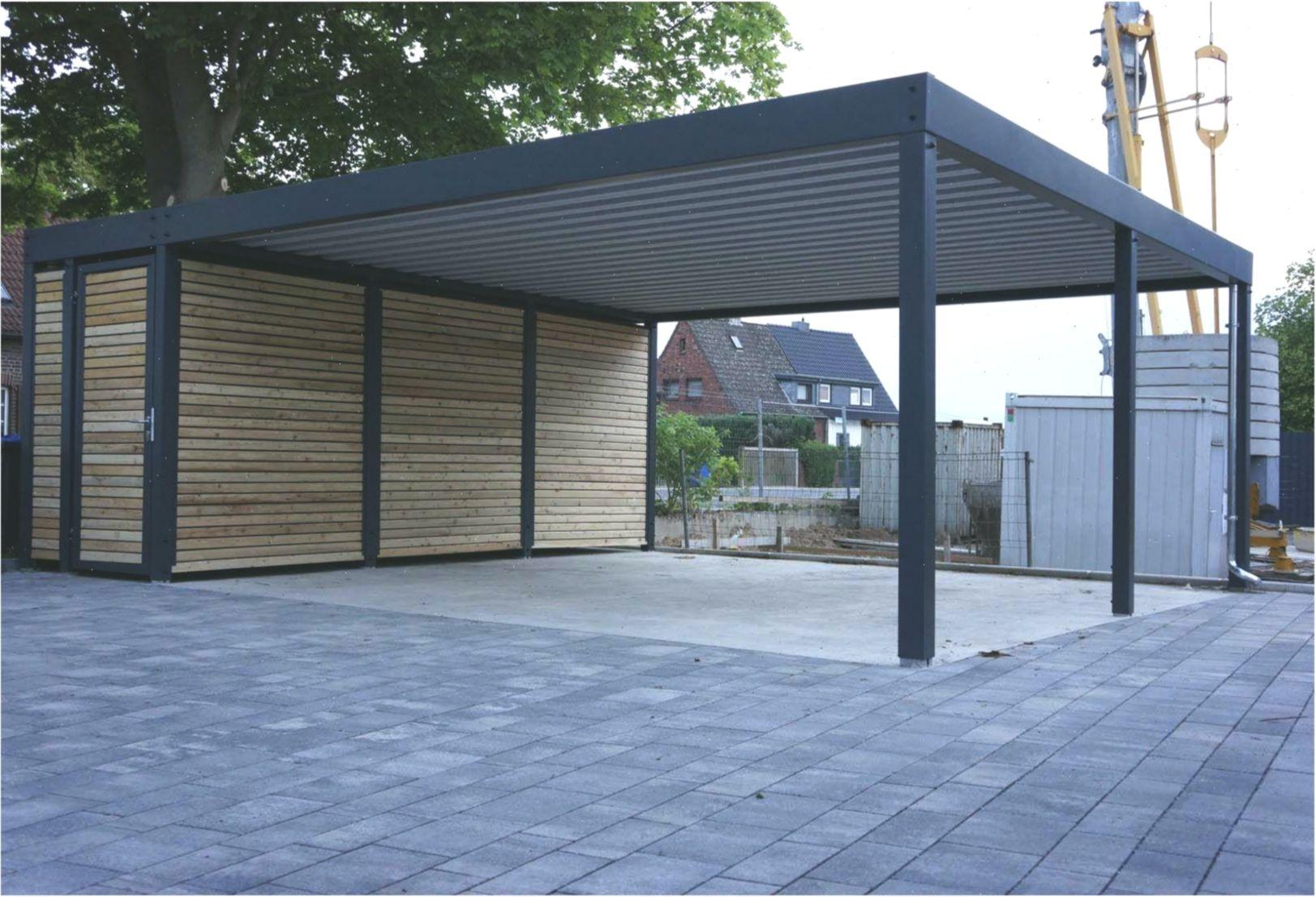 Design Metall Carport aus Holz Stahl mit Abstellraum Nürnberg Deutschland Stahl