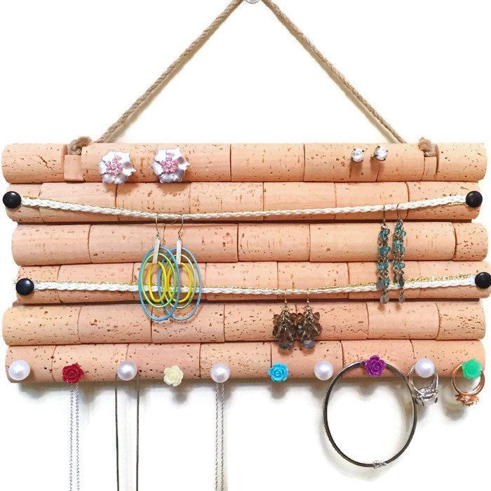 Wine Cork Jewelry Organizer A Handmade Jewelry Hanger Made Out Of Wood And Wine Corks Just Stick The Stud Earr Wine Cork Jewelry Cork Jewelry Jewelry Hanger
