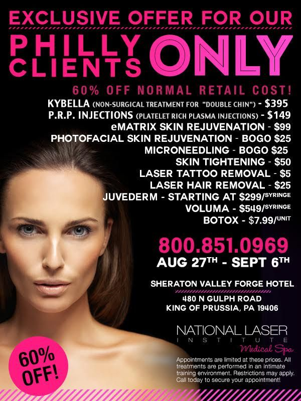 NLI Med Spa will be in Philadelphia August 27-Sept 6th! Call