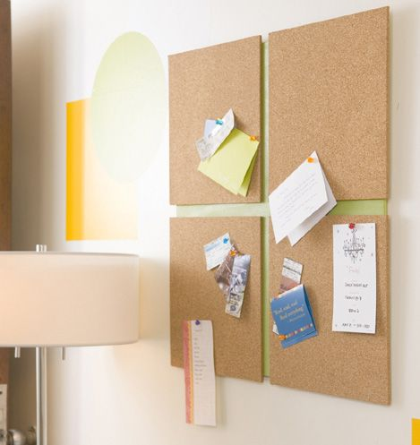 Cute, thrifty idea for a corkboard photo/message wall!