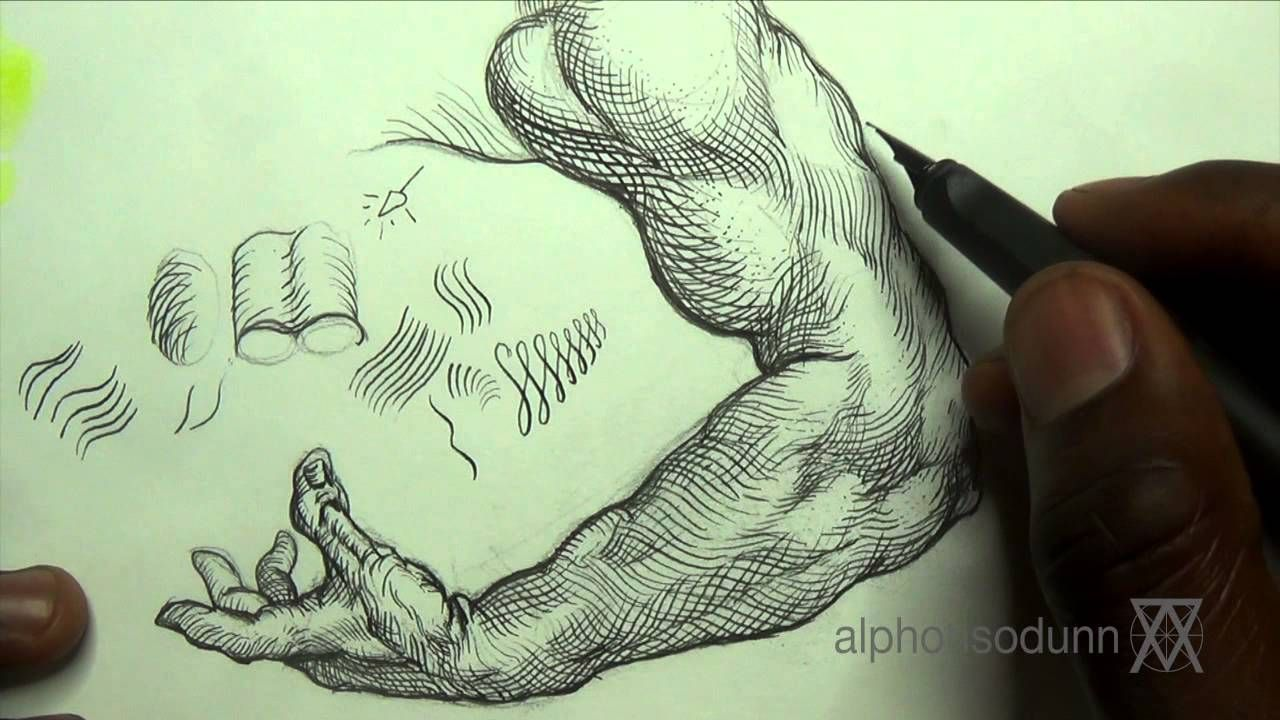 Pen ink drawing tips how add crosshatching to an arm