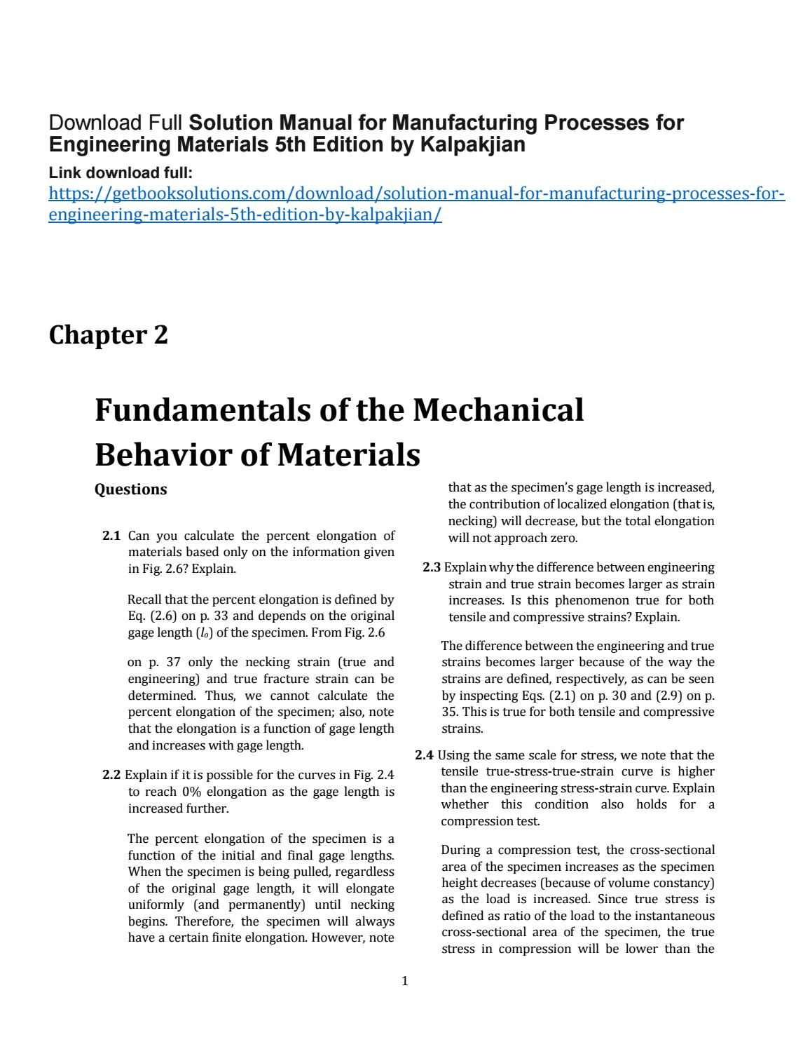 Download solution manual for manufacturing processes for engineering  materials 5th edition by kalpak