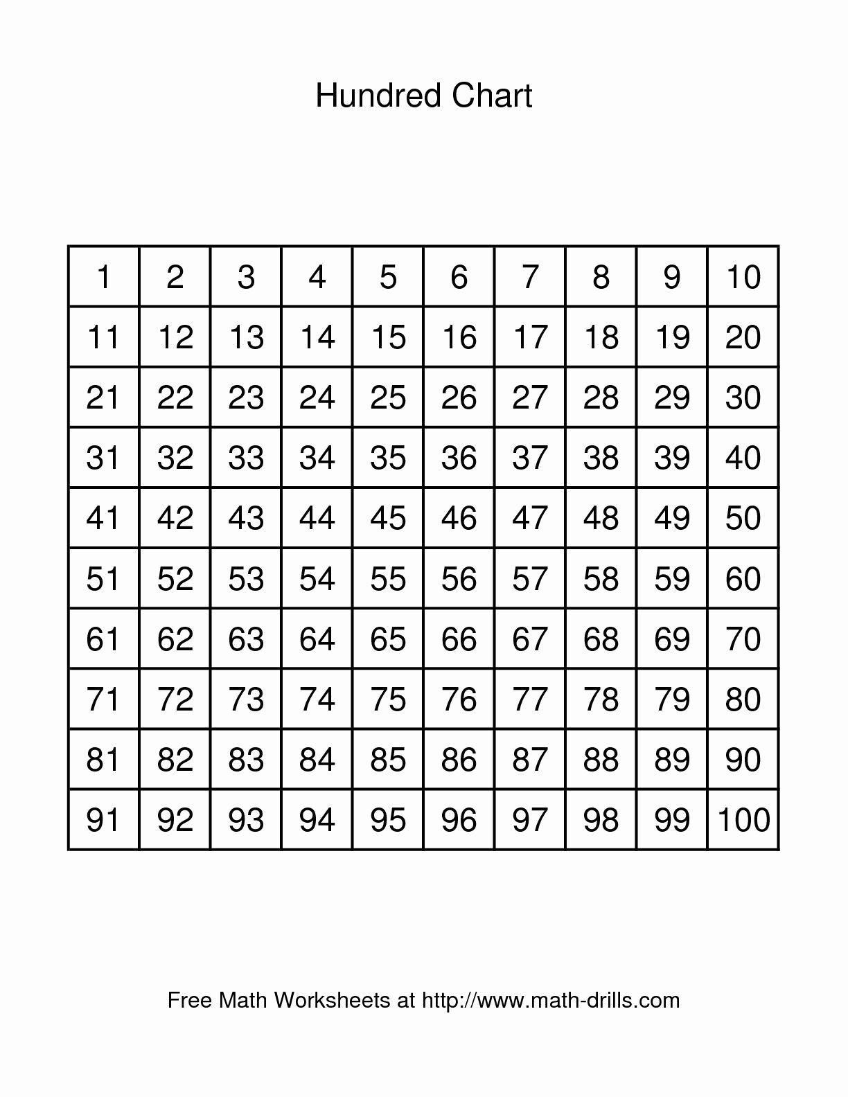 100 Chart Printable Di