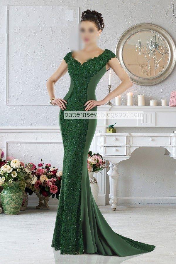 باترون مفصل لفستان سواريه طويل اخضر Pattern Sewing Gowns Of Elegance Evening Dresses Designer Evening Dresses