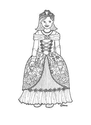 Karen`s Paper Dolls: Elisabeth 1-4 Paper Doll to Print and Colour. Elisabeth 1-4 påklædningsdukke til at printe og farvelægge.