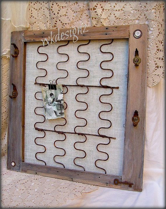 Rustic Bulletin Board Photo Board Jewelry Organizer OOAK Vintage