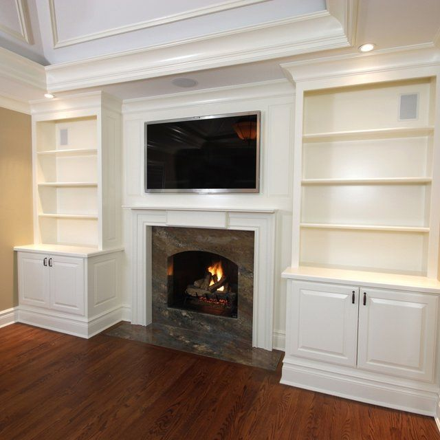 Cabinets And Fireplace Surrounds: Built-In Cabinets With Mantel 1 In 2019