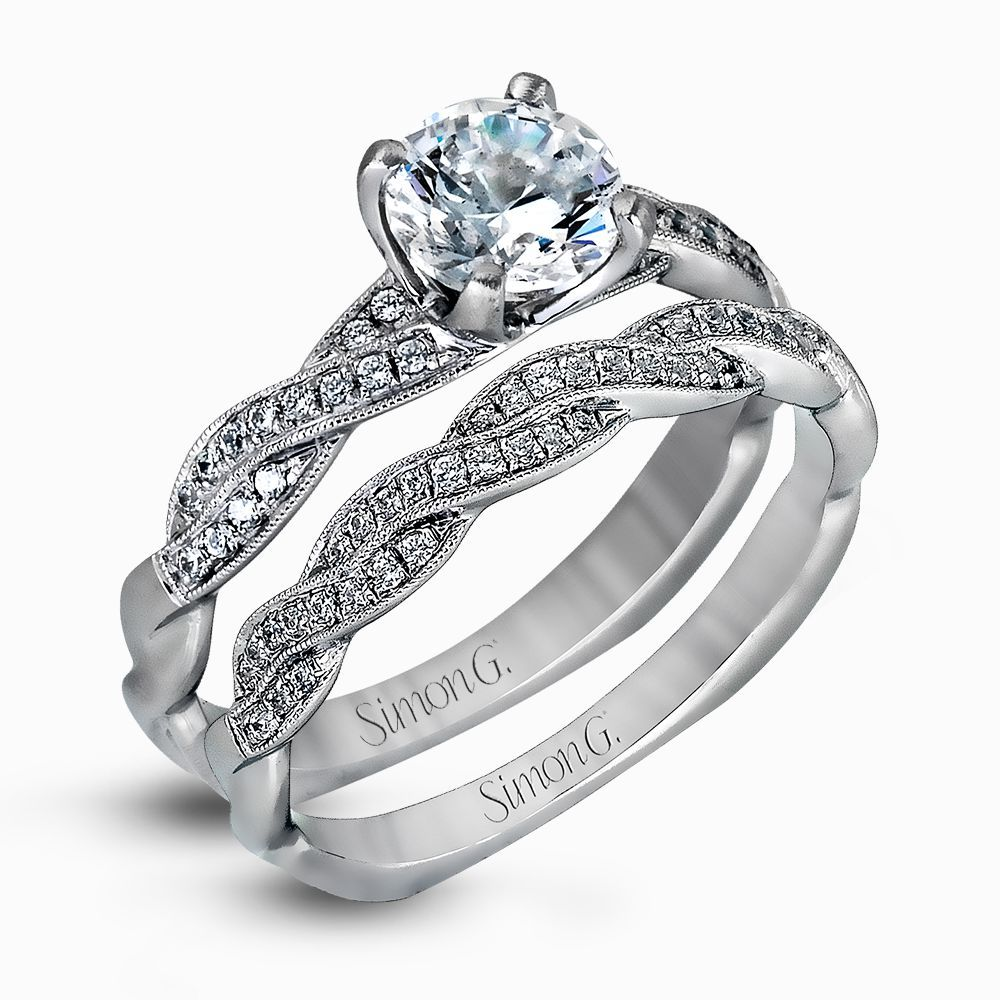 e67d43b582bab 18K White Gold Twisted Shank Engagement Ring Set - Delicate ...
