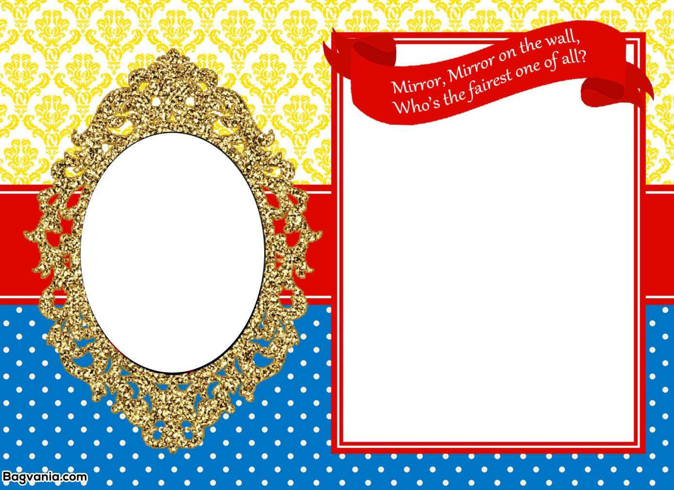 Awesome Free Printable Snow White Birthday Invitations Free