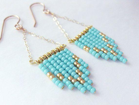MULTIPLE COLORS!!! Chevron Earrings, Boho Earrings, Fringe Earrings, Seed Bead Earrings, 14k Gold Filled, Sterling Silver, Bohemian Jewelry, Boho Chic Style