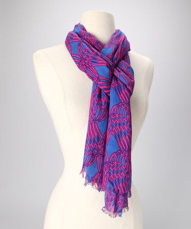 Take a look at this Pink & Blue Abstract Scarf by In Things on #zulily today!