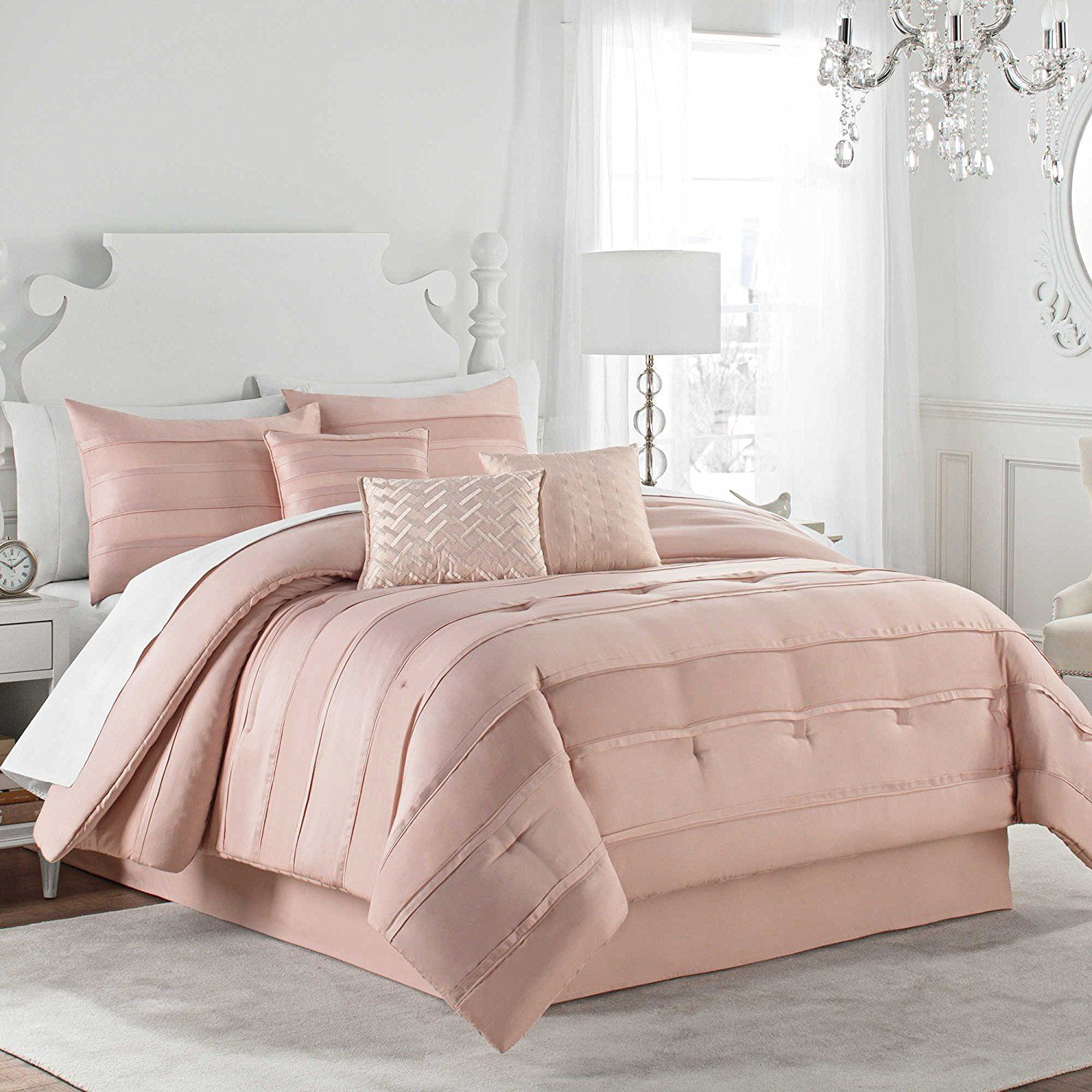 Blush Pink Quilt Cover New Matte Satin Pleated Luxury Elegant 7 Piece King Size