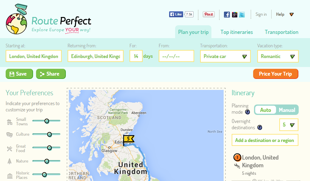 excellent new europe trip planning website called routeperfect