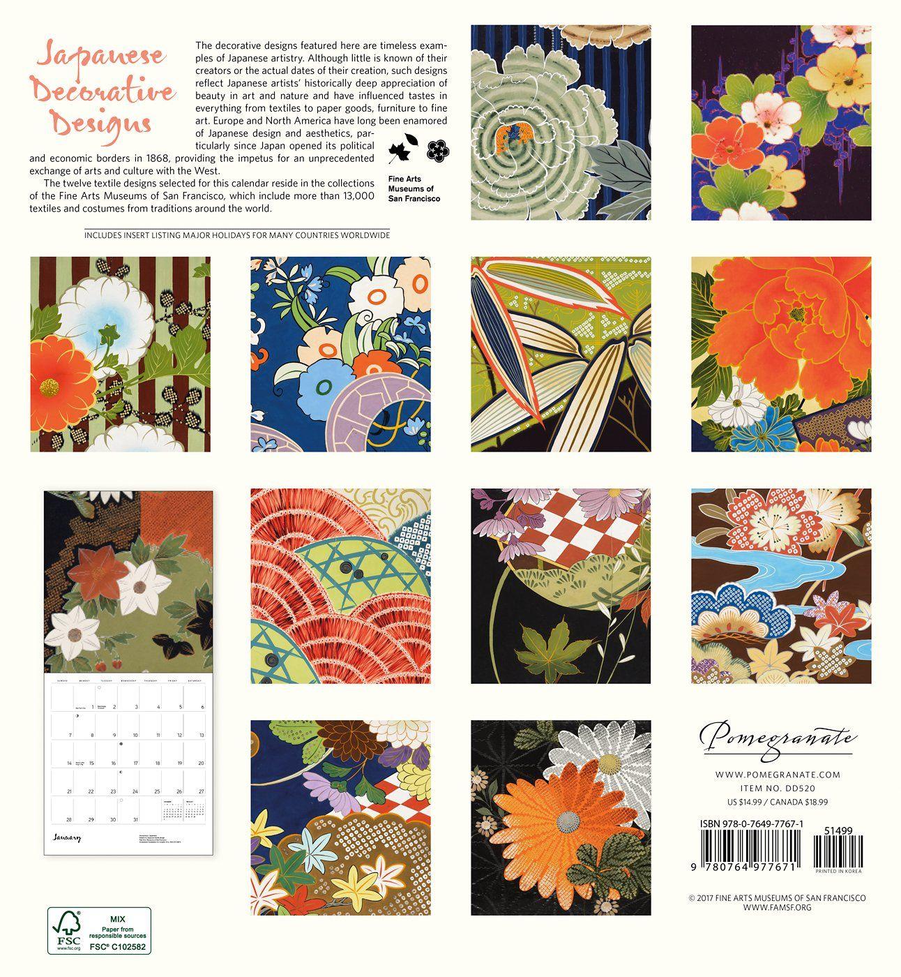 Japanese Decorative Designs 2018 Wall Calendar #calendar #design ...