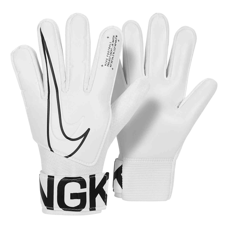 Kids Nike Match Goalkeeper Gloves White Black Soccerpro Goalkeeper Gloves Goalie Gloves Golf Gloves