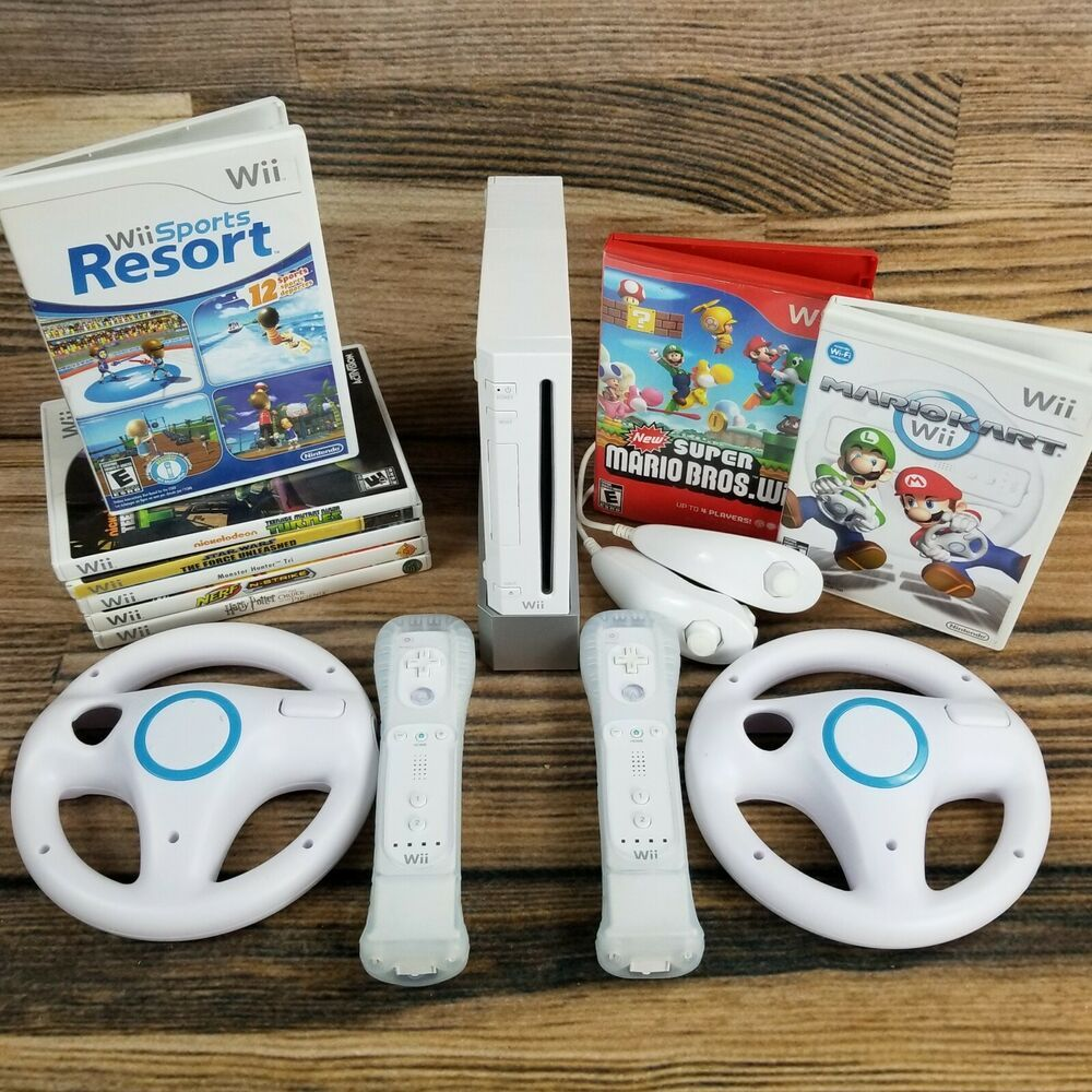 HUGE Nintendo Wii Sports Resort Mario Kart Console Bundle