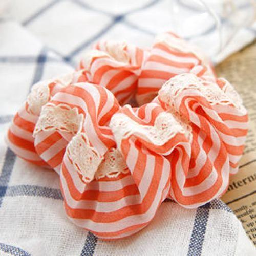 Lace-Trim Striped Hair Tie Orange - One Size