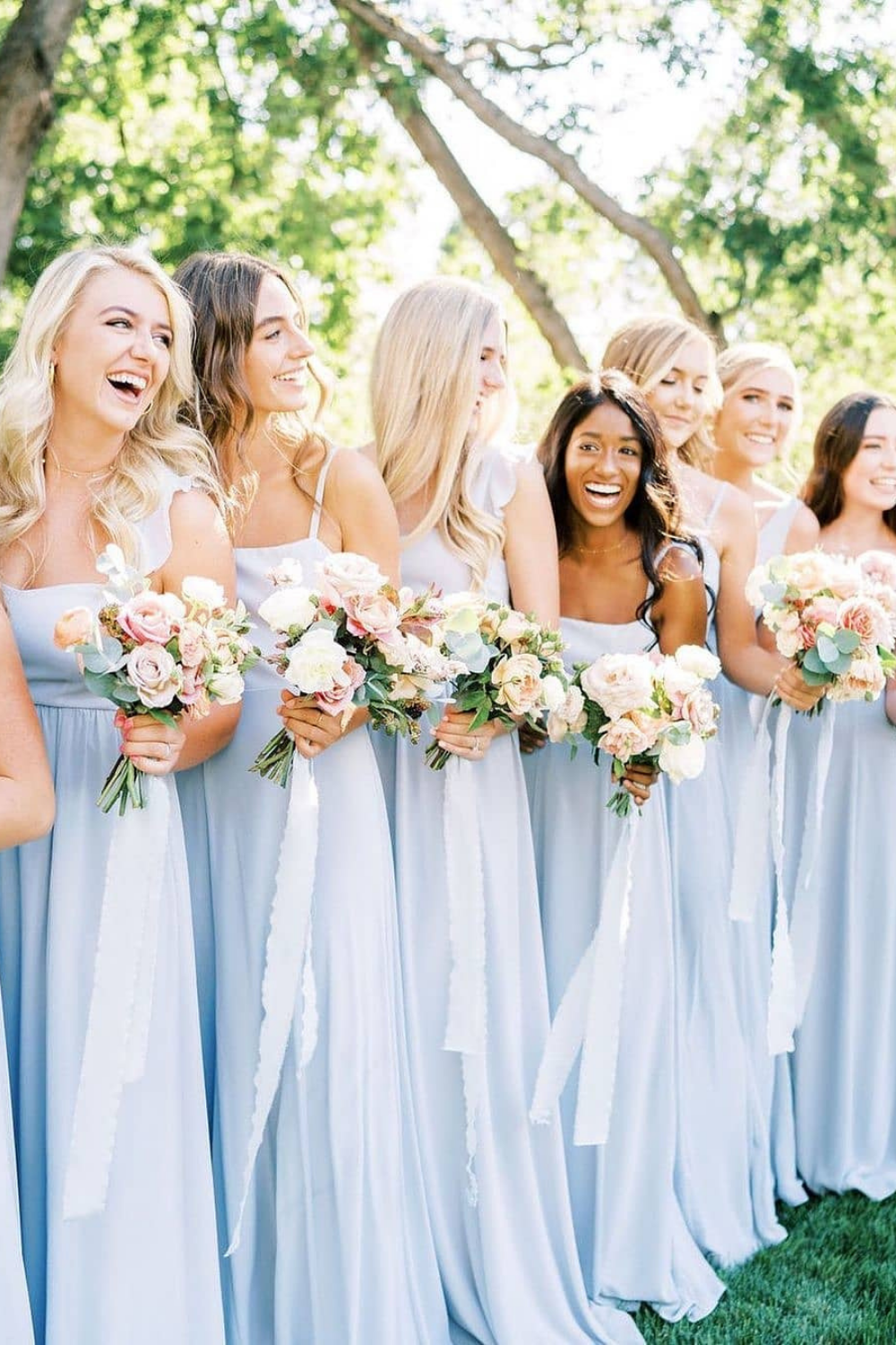 Blue Bridesmaid Dresses For The Perfect Spring Wedding In 2021 Light Blue Bridesmaid Dresses Light Blue Bridesmaid Light Blue Wedding Colors [ 1500 x 1000 Pixel ]