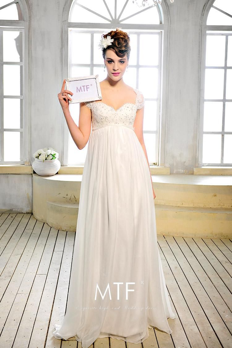 A-line hollow white sweetheart capped sleeves lace chiffon sweep ...