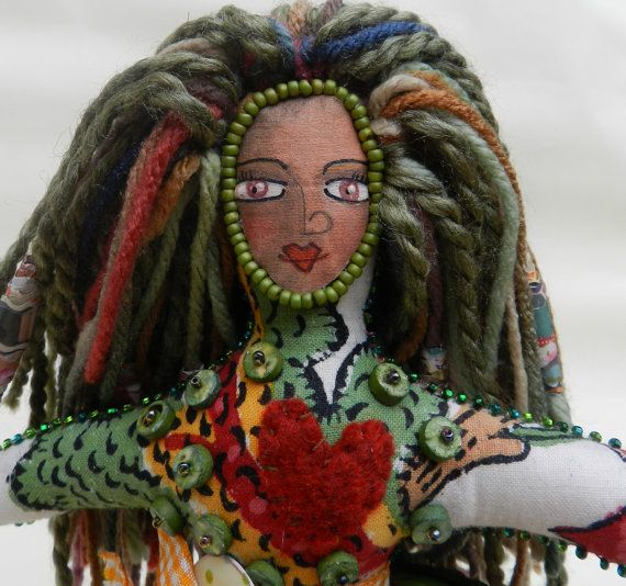 Vintage Indian Cotton One of a Kind Art Doll with Green accents