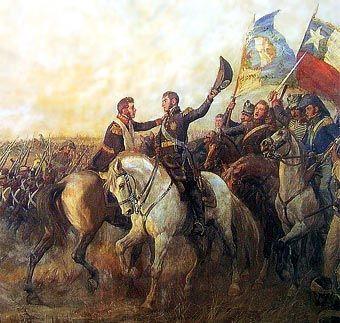 Biografia de José de San Martín El abrazo de Maipú (detalle de un cuadro de Pedro Subercaseaux)