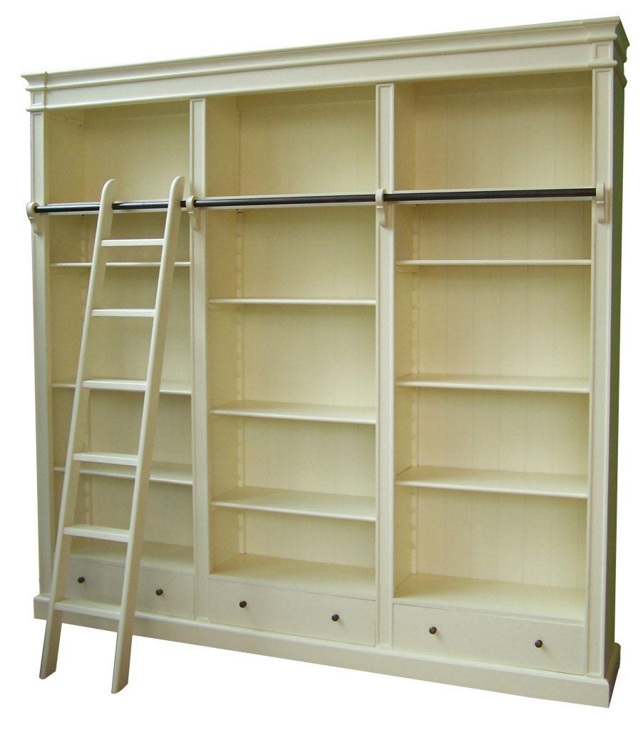 Brighton Library, Boekenkast met ladder, 85/171/250/330 cm - Massief ...