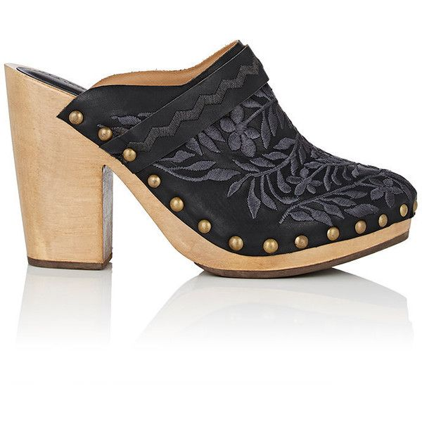 Ulla Johnson Women's Embroidered Leather Clogs (£380) ❤ liked on Polyvore featuring shoes, clogs, black, black high heel shoes, black shoes, platform shoes, slip-on shoes and high heel shoes