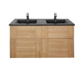 Meuble Salle De Bain Essential.Plan Vasque Essential Noir 120 Cm Meuble Sous Vasque Frene