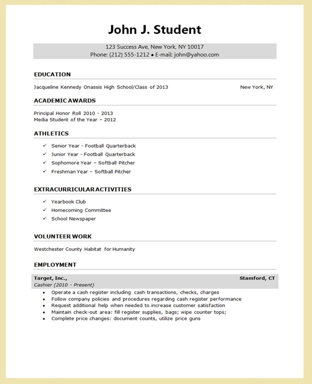 Sample Resume for College Application Resume Downloads