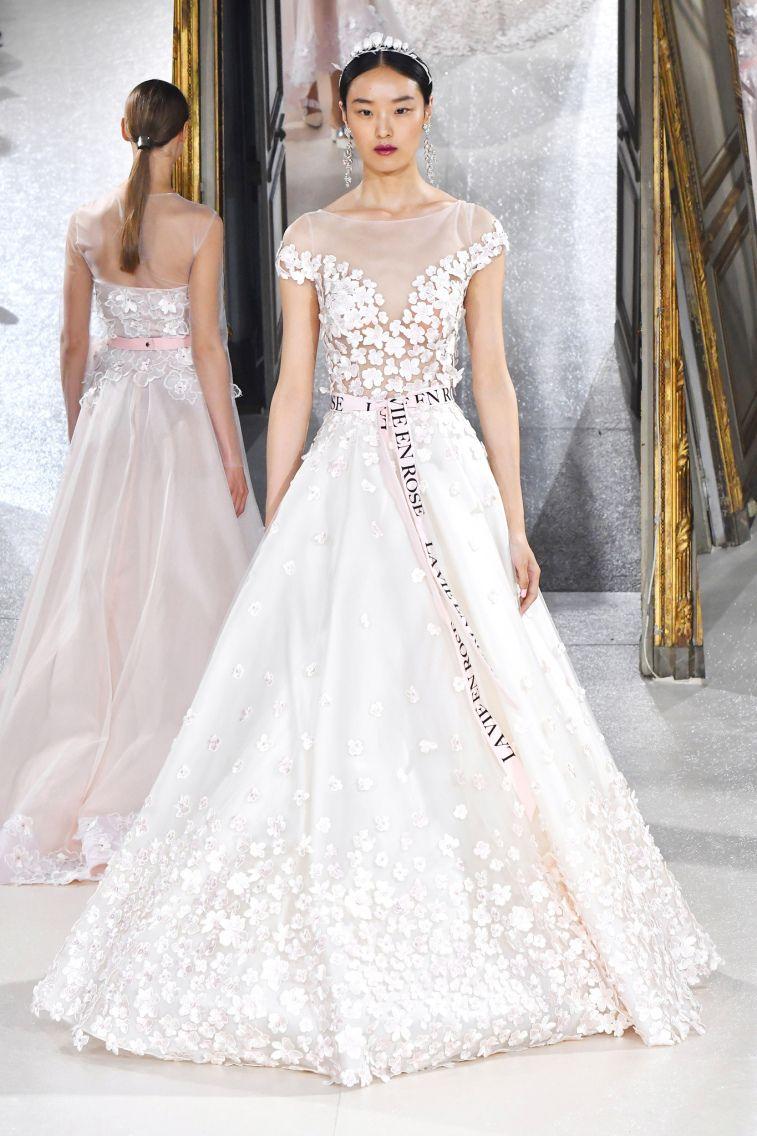 Kaviar Gauche Spring 2018 Wedding Dresses La Vie En Rose cap sleeves illusion neckline floral applique a line wedding dress #weddingdress #weddinggown #floralapplique