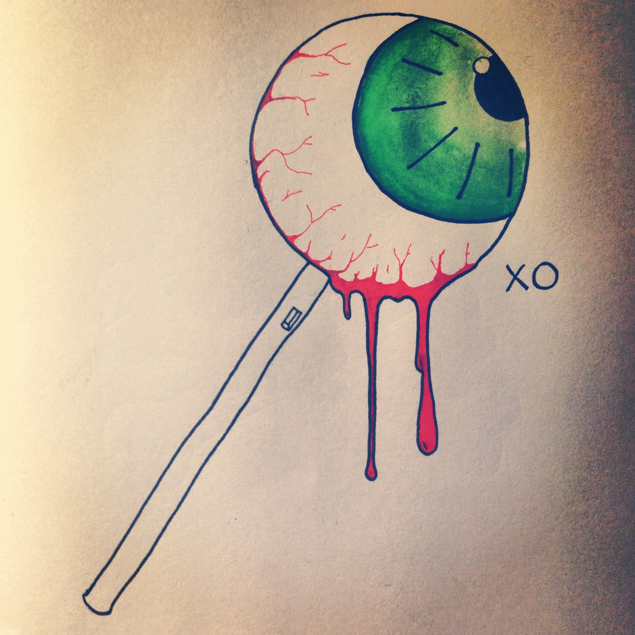 Eyeball Lollipop Tattoo Style Painting Justina Bisset Xo Art