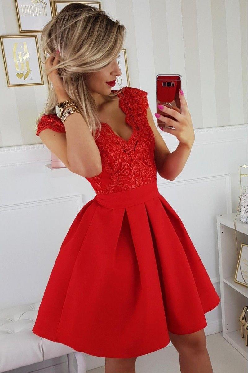 dcb9ae1615 Sukienka czerwona bombka rozkloszowana koronka tiul w 2019 ...