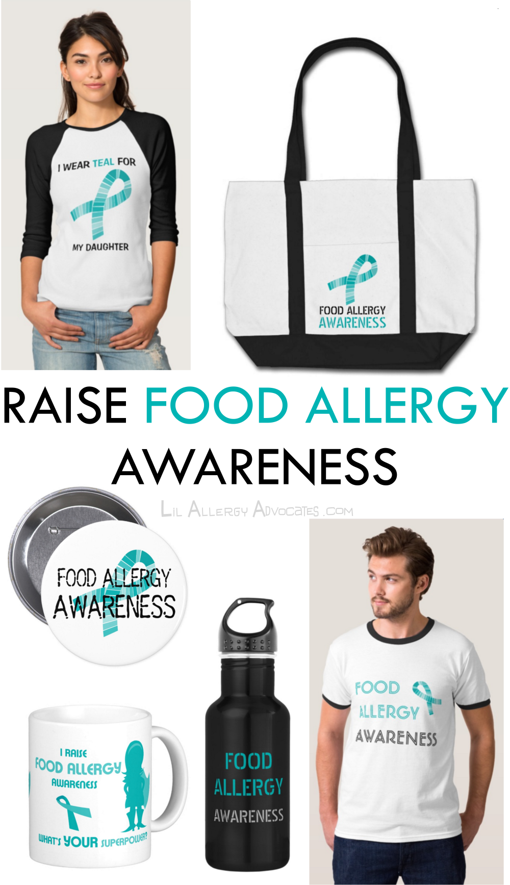Raise food allergy awareness with our teal ribbon designs. Choose from mugs, apparel, office and kitchenware items with the awareness designs. www.lilallergyadvocates.com