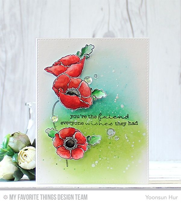 RejoicingCrafts: MFT September Release! My watercolor card with MFT Delicate Pretty Poppies Stamp Set. #mftstamps