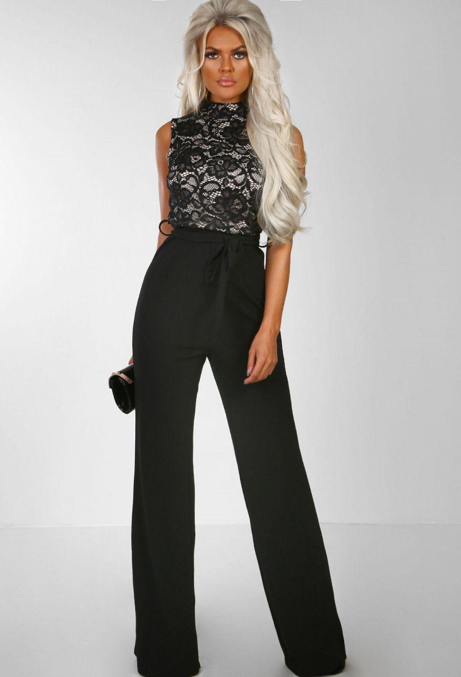 1e0e00c73835 Bronx Beauty Black Lace Tie Waist Wide Leg Jumpsuit