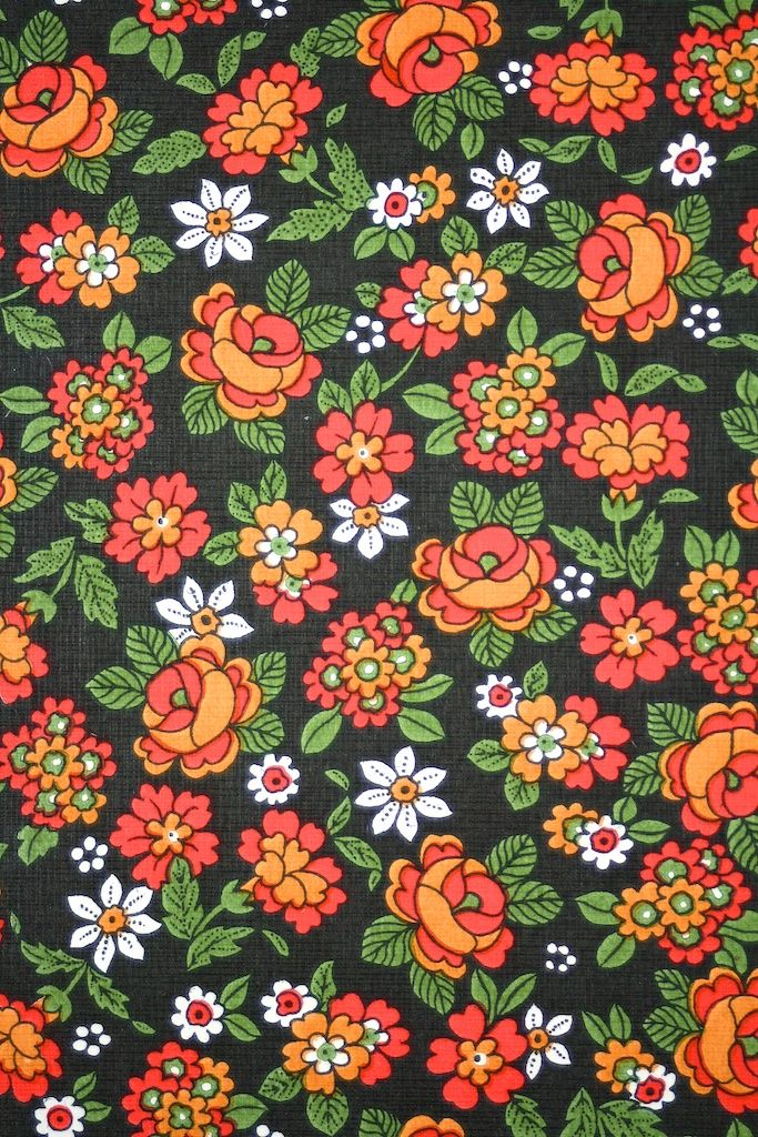 Small Flower Pattern Wallpaper Vintage Retro Floral With Colorful On A Black Background Seventies