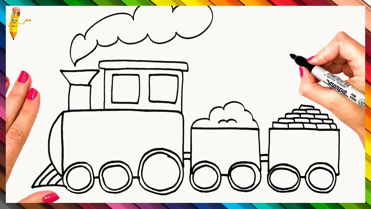 How To Draw A Train Step By Step Train Drawing Easy Train Drawing Easy Drawings Drawings