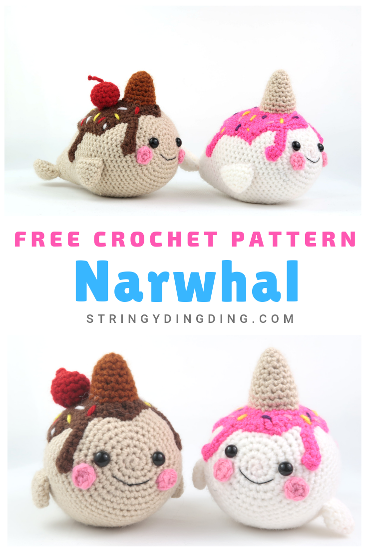 Ice Cream Narwhal Amigurumi - Free Crochet Pattern - StringyDingDing
