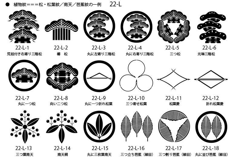 家紋 植物紋の一例 松紋 松葉紋 南天紋 芭蕉紋 家紋 南天 和柄