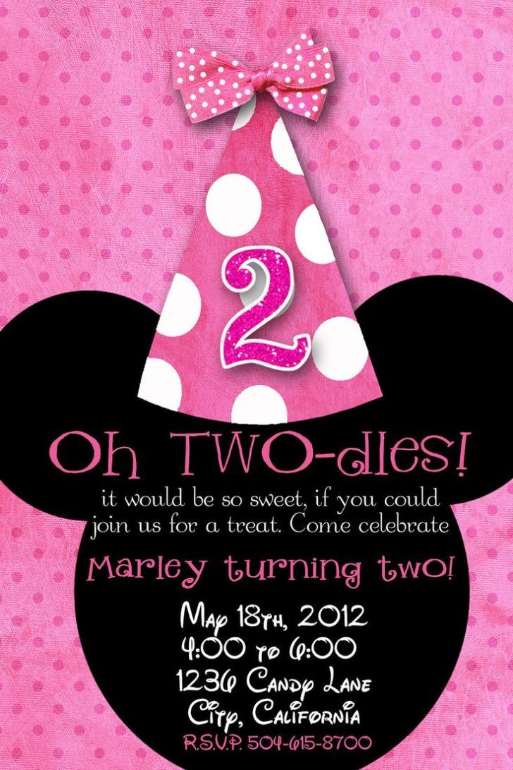 Adorable Minnie Mouse 2nd Birthday Invitation Template Second Invite Sample Design