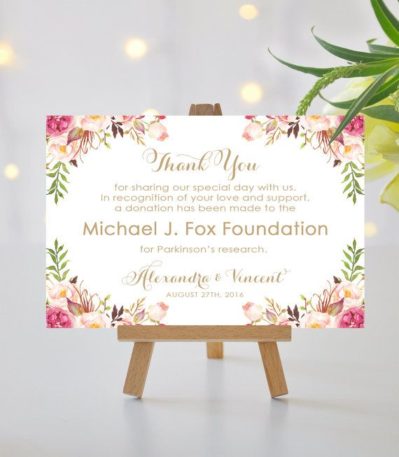 weddings in lieu of favors sign donation card by love