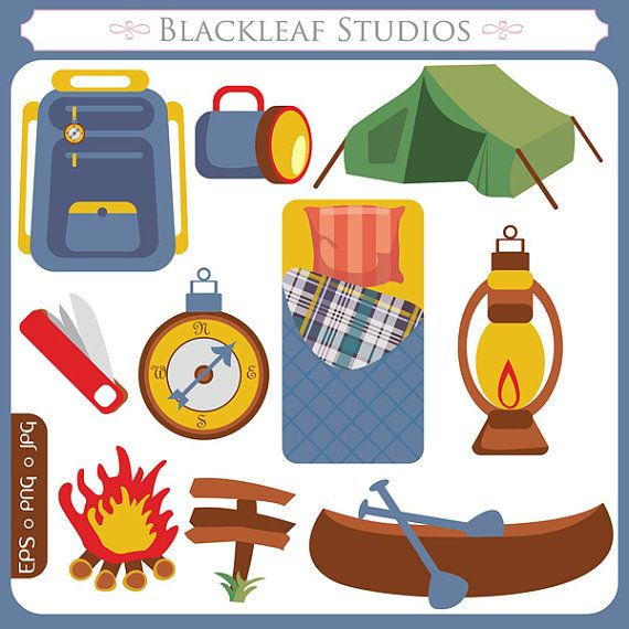 Camping Scouts Clipart Set Digital Download Images Scrapbook