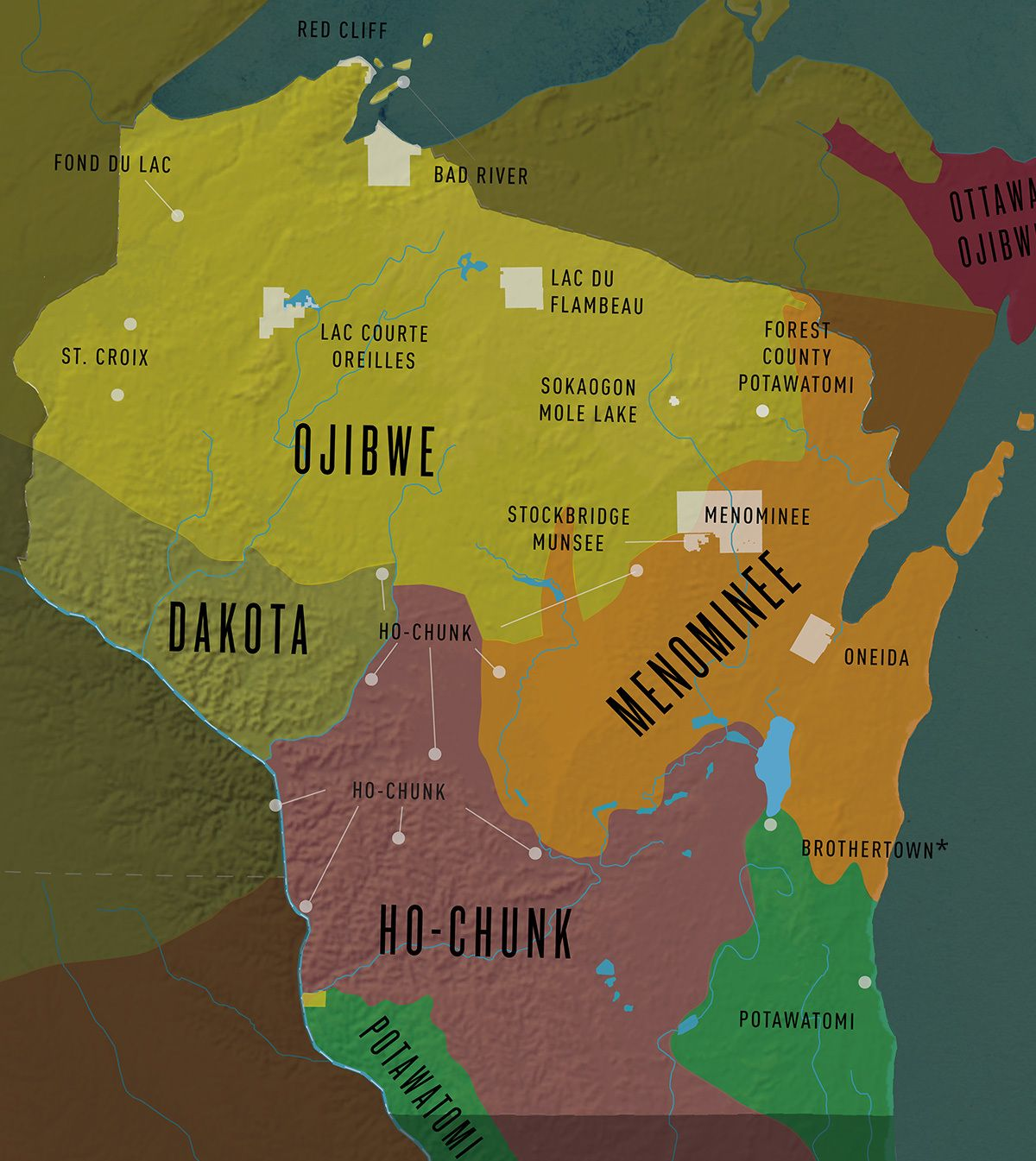 Photo of Tribal Nations of Wisconsin. The white spots are current reservation borders.
