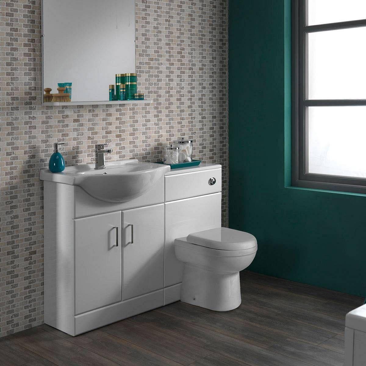 sienna autograph white gloss combination vanity unit small victoria plumb - Bathroom Accessories Victoria Plumb
